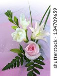 bouquet of roses  and lily on... | Shutterstock . vector #134709659