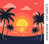 sunset   beach background | Shutterstock .eps vector #1347106571