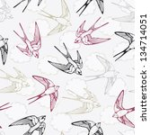 vintage bird pattern with... | Shutterstock .eps vector #134714051