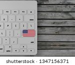 usa  flag enter key on white... | Shutterstock . vector #1347156371