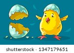 chicken baby hatched from egg.... | Shutterstock .eps vector #1347179651