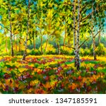 original oil painting sunny... | Shutterstock . vector #1347185591