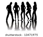 black and white silhouettes of... | Shutterstock .eps vector #13471975