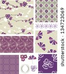 purple blossom floral vector... | Shutterstock .eps vector #134723069