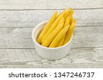 pickled baby corn in the bowl | Shutterstock . vector #1347246737