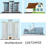 set of buildings  office  house ... | Shutterstock .eps vector #134724935