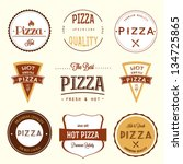 pizza labels set | Shutterstock .eps vector #134725865