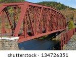 metal bridge over the river  ...