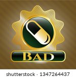 gold emblem with pill icon and ... | Shutterstock .eps vector #1347264437