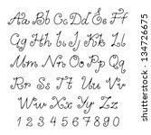 set alphabet calligraphic  ... | Shutterstock .eps vector #134726675