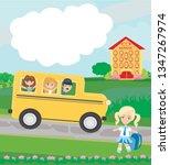 happy kids go to school | Shutterstock . vector #1347267974