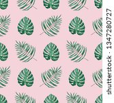 green tropical leaves on the... | Shutterstock .eps vector #1347280727