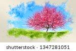 decorative watercolor spring... | Shutterstock . vector #1347281051