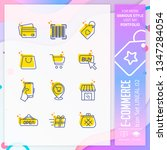 e commerce icon set with line...