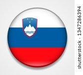 flag of slovenia. round glossy... | Shutterstock . vector #1347286394