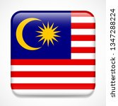 flag of malaysia. square glossy ... | Shutterstock . vector #1347288224