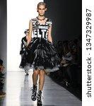 Small photo of New York, New York - February 08 2019: Katia Andre walks the runway at Jeremy Scott Fall Winter 2019 Fashion Show