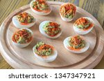 guacamole and bacon deviled... | Shutterstock . vector #1347347921