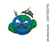 evil planet earth emoji. a... | Shutterstock .eps vector #1347352751