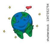 emoji earth in love. a cartoon... | Shutterstock .eps vector #1347352754