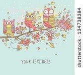 Cute Owls On Branch In Flowers. ...