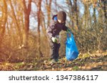 Small photo of Recycle waste litter rubbish garbage trash junk clean training. Nature cleaning, volunteer ecology green concept. Young men and boys pick up spring forest at sunset. Environment plastic pollution
