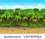 seamless cartoon beach...   Shutterstock .eps vector #1347409064