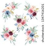 watercolor flowers set peonies  ... | Shutterstock . vector #1347416201
