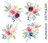 watercolor flowers set peonies  ... | Shutterstock . vector #1347416204