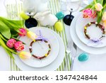 beautiful table setting with... | Shutterstock . vector #1347424844