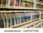 shelves filled with colorfully... | Shutterstock . vector #134747765