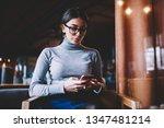 attractive trendy hipster girl...   Shutterstock . vector #1347481214