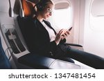 hipster girl flight passenger... | Shutterstock . vector #1347481454