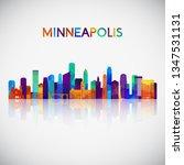 minneapolis skyline silhouette...   Shutterstock .eps vector #1347531131