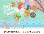 happy birthday  cute vector... | Shutterstock .eps vector #1347573191