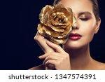 fashion model beauty portrait... | Shutterstock . vector #1347574391