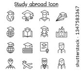 Study Abroad Icon Set In Thin...