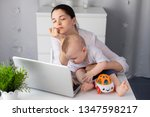 tired sleepy mother tries to... | Shutterstock . vector #1347598217