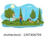 happy farmer family cartoon... | Shutterstock .eps vector #1347606704