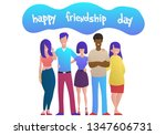 young friends from all around... | Shutterstock .eps vector #1347606731