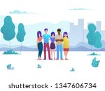 a group of young friends are... | Shutterstock .eps vector #1347606734