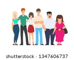 young friends from all around... | Shutterstock .eps vector #1347606737