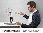 huge businessman starting to...   Shutterstock . vector #1347616364