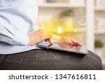 business woman using tablet...   Shutterstock . vector #1347616811