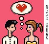 retro 8 bit heart pixel lovers... | Shutterstock . vector #134762105