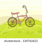 vintage bicycle on the spring... | Shutterstock .eps vector #134762621