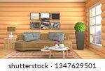 interior of the living room. 3d ...   Shutterstock . vector #1347629501