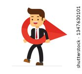 business man carry a large map...   Shutterstock .eps vector #1347630101