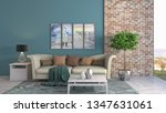 interior of the living room. 3d ... | Shutterstock . vector #1347631061