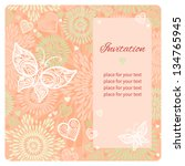 gift card and invitation with... | Shutterstock .eps vector #134765945